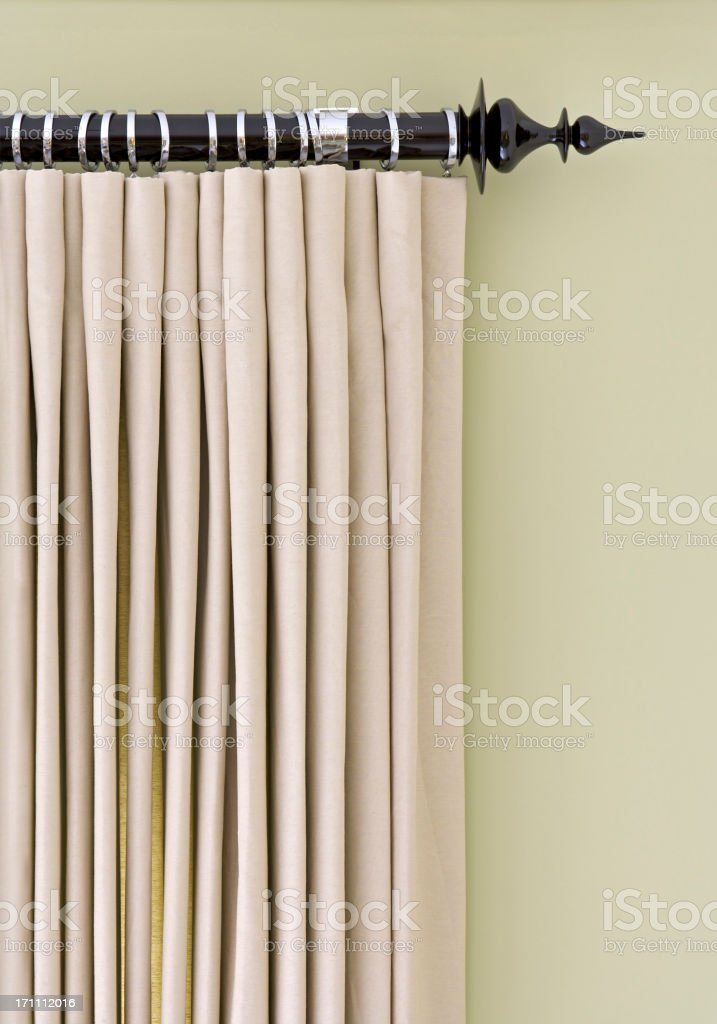 silk curtains and pole stock photo