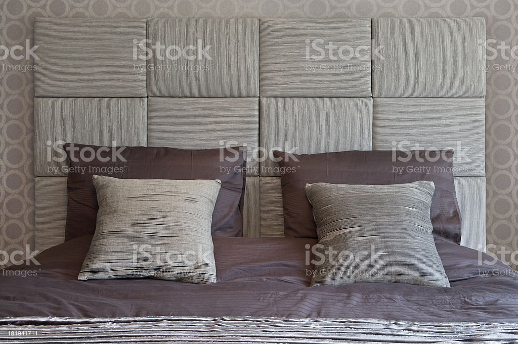 silk cushions and bedding stock photo