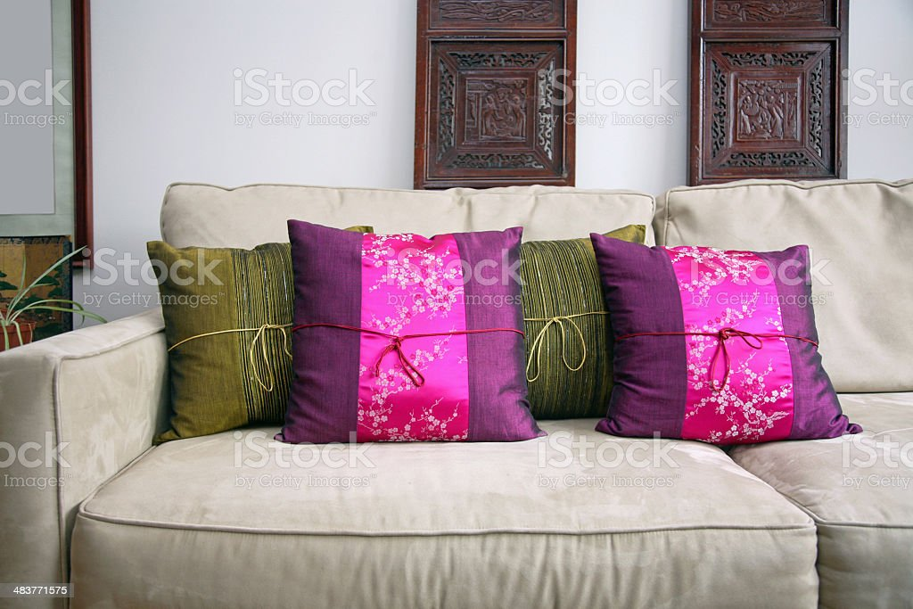 Silk Cushions On Sofa royalty-free stock photo