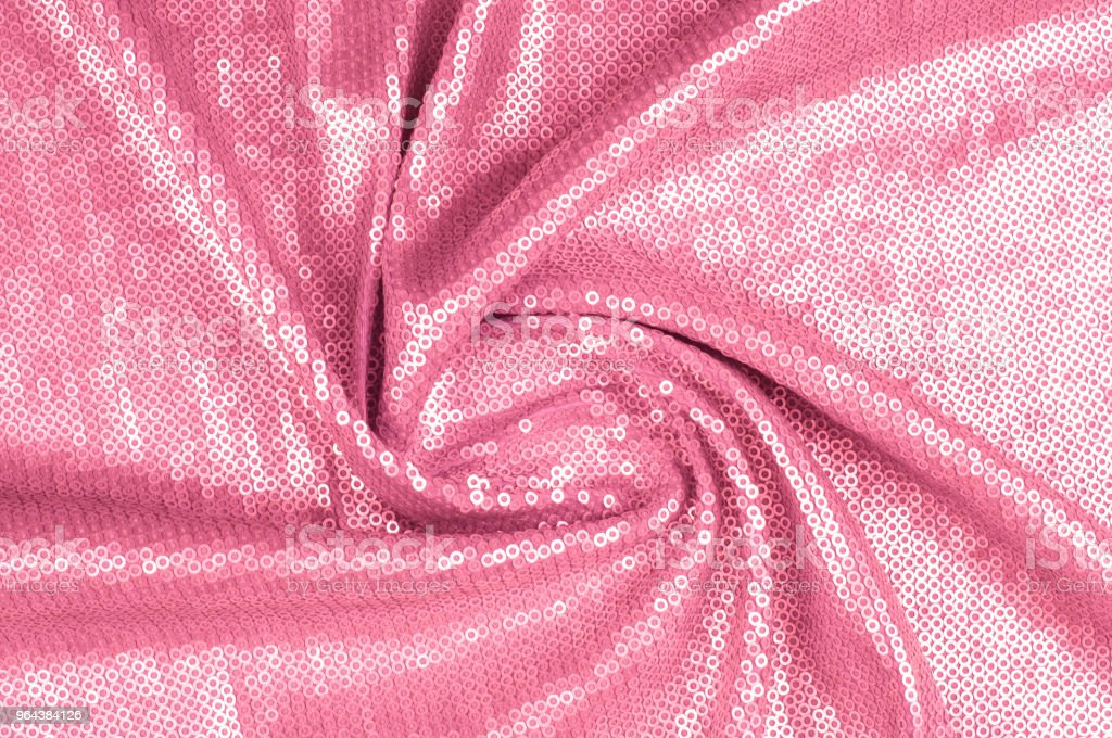 Zijde stof patroon, achtergrond. Bedekt met pailletten roze - Royalty-free Brazilië Stockfoto