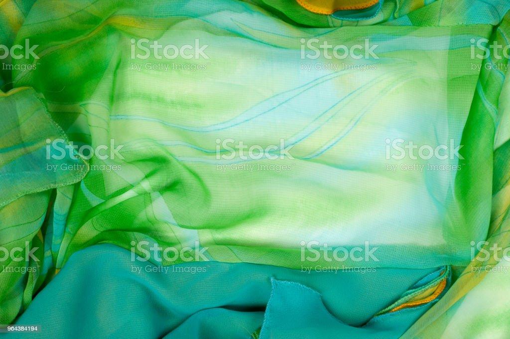 Zijde stof patroon, achtergrond. groene en gele kleur - Royalty-free Blauw Stockfoto