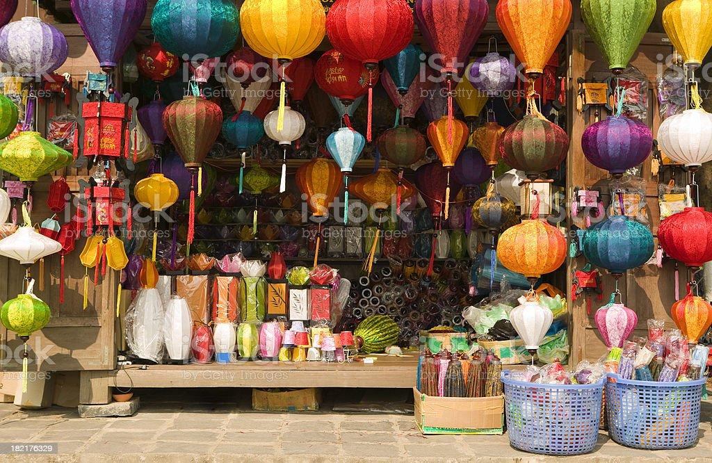 silk lantern bazaar display hoi an vietnam stock photo
