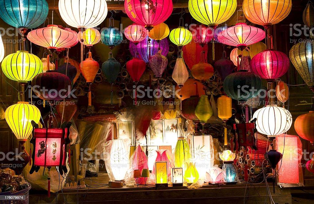 silk lantern night bazaar display hoi an vietnam stock photo