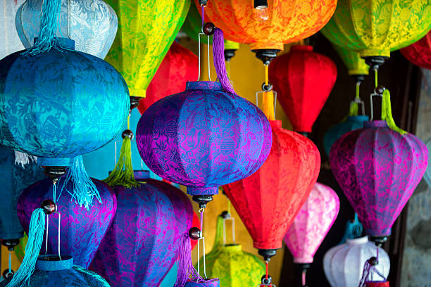 Silk Lanterns in Asia Silk Lanterns in Hoi An an ancient city in Vietnam vietnamese culture stock pictures, royalty-free photos & images