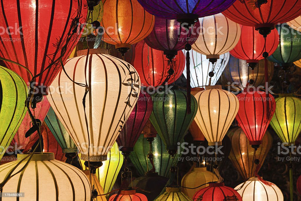Silk lanterns in Hoi An city, Vietnam royalty-free stock photo