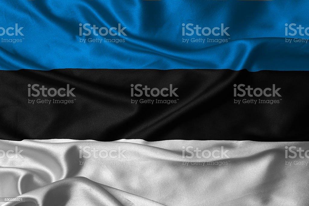 silk made Estonia flag stock photo