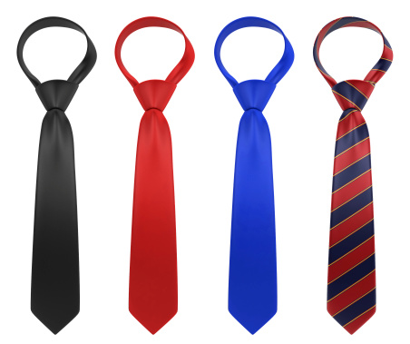 Silk neckties. 3d illustration isolated on white background