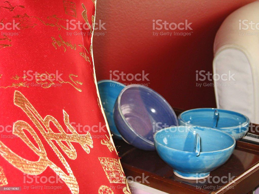 Silk pillow and pots stock photo
