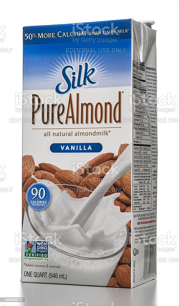 Silk Pure Almond Vanilla milk carton stock photo