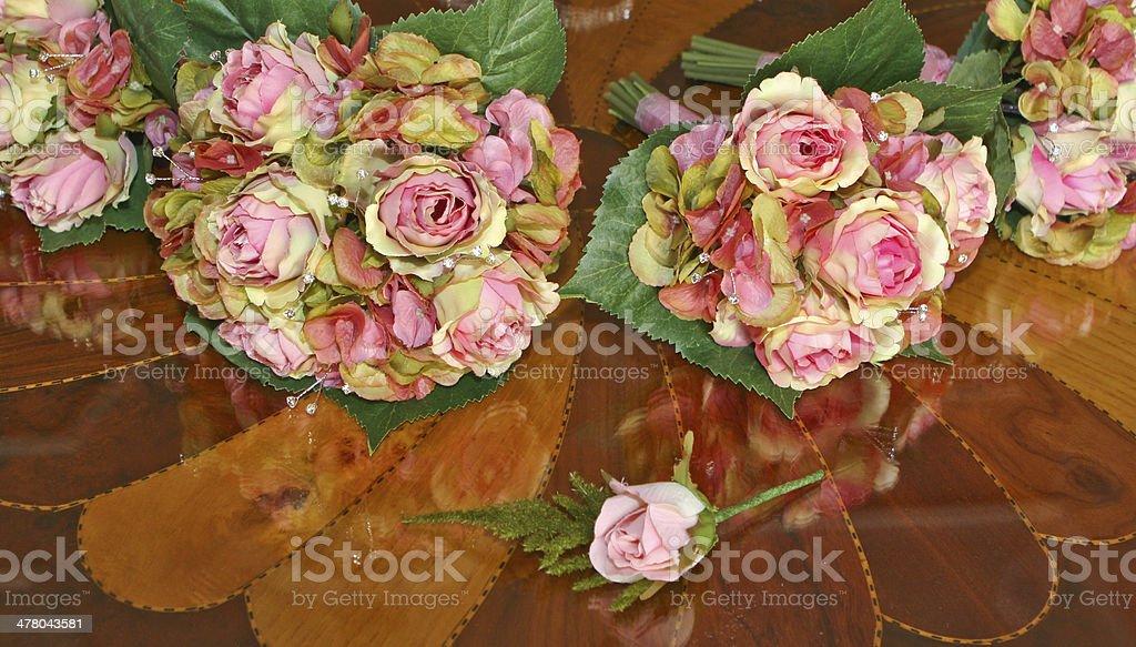 Silk Roses Wedding Bouquet royalty-free stock photo
