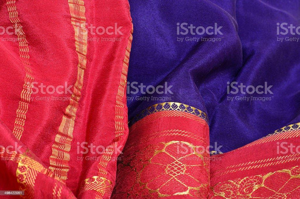 Silk Sari Fabric stock photo