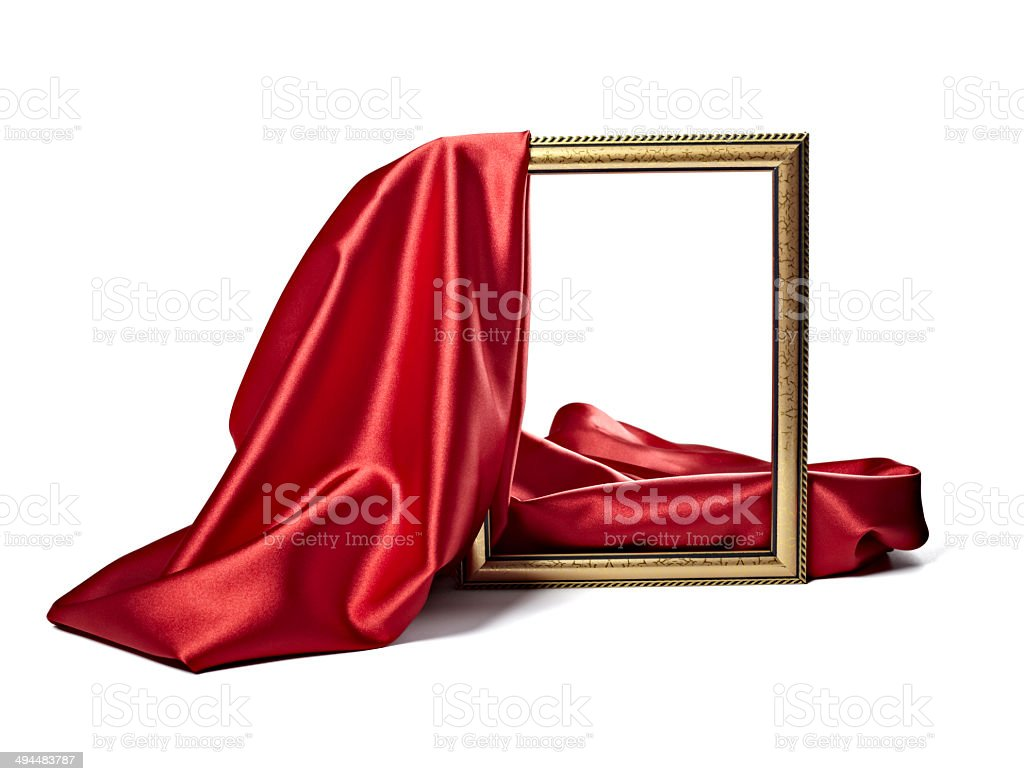 silk satin fabric texture background wooden frame stock photo