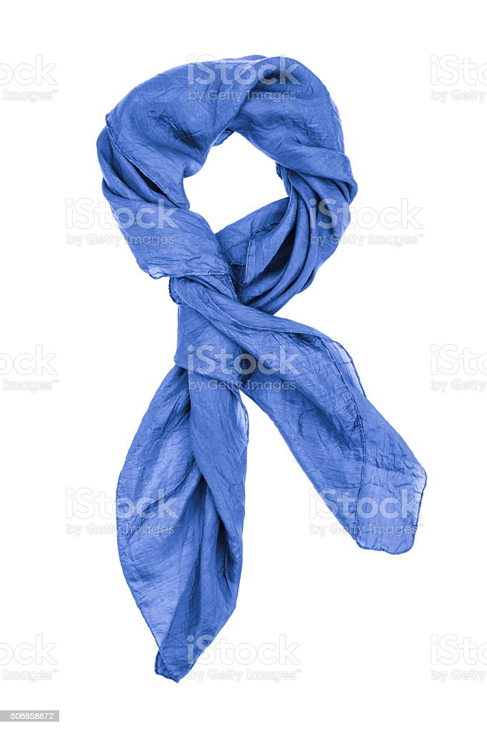 Silk scarf. Blue silk scarf isolated on white background stock photo