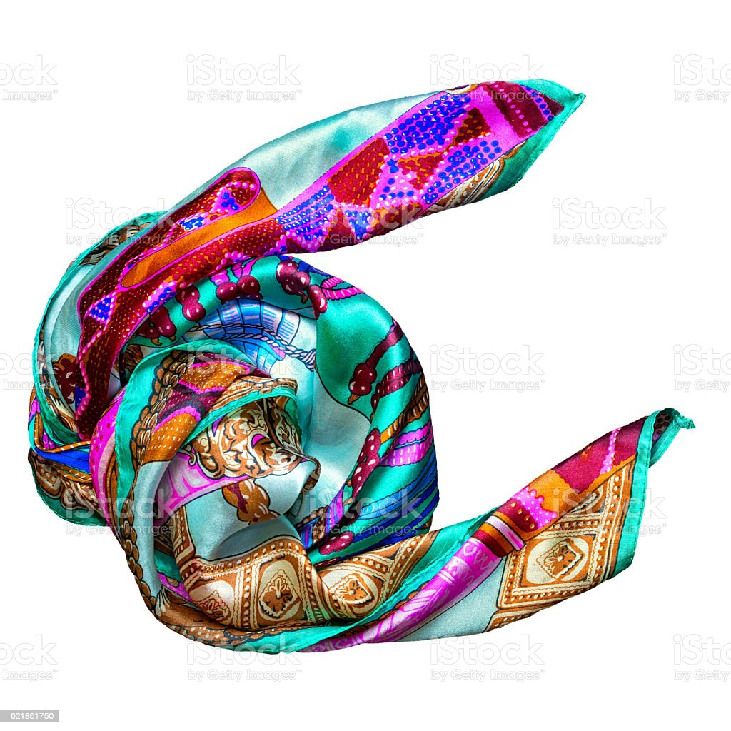 Silk scarf isolated on white background stock photo