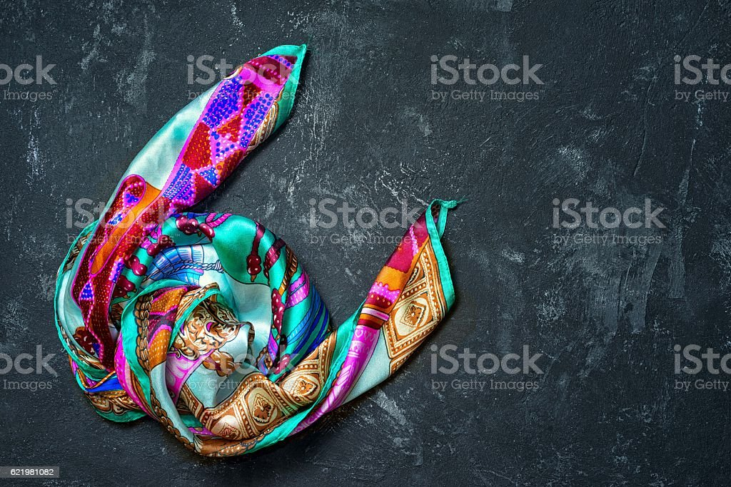 Silk scarf on a black background royalty-free stock photo