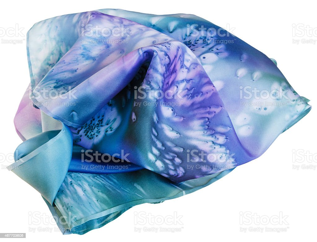 silk scarf painted by blue batik isolated stock photo