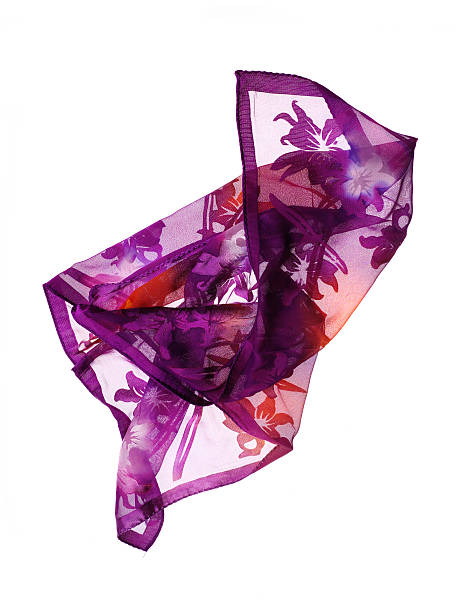 Silk scarf purple silk scarf on white background headscarf stock pictures, royalty-free photos & images