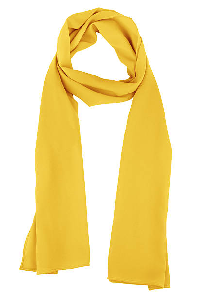 Silk scarf. Yellow silk scarf isolated on white background Yellow silk scarf isolated on white background.  Female accessory. headscarf stock pictures, royalty-free photos & images