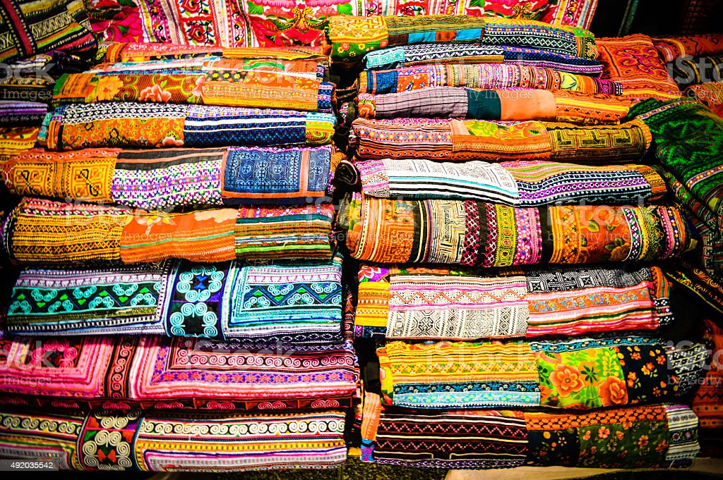 Silk scarves and textiles from Thailand stock photo