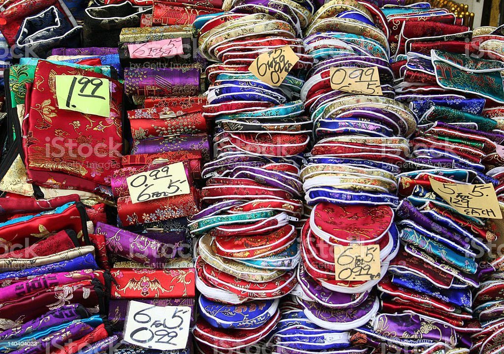 Silk wares in Chinatown - San Francisco stock photo