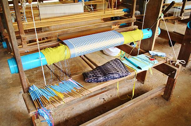 Silk Weaving Loom At A Farm In Siem Reap, Cambodia stock photo