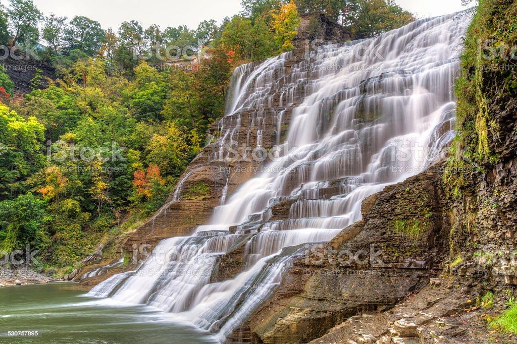 Silky Ithaca Falls stock photo