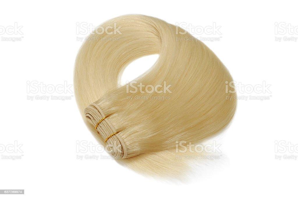 silky straight blode human hair weave extensions bundle - foto de acervo