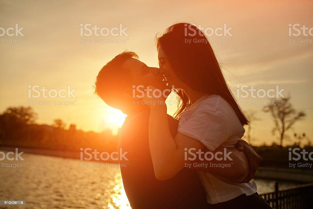 sillhouette couple love stock photo