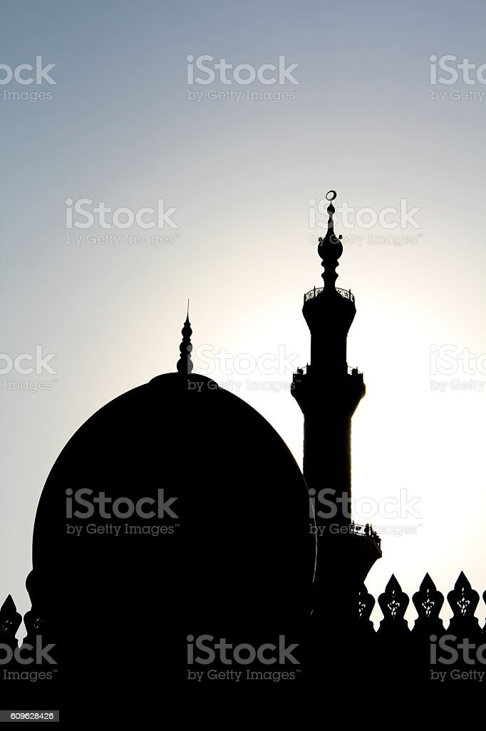 Sillhouette of Mosque stock photo