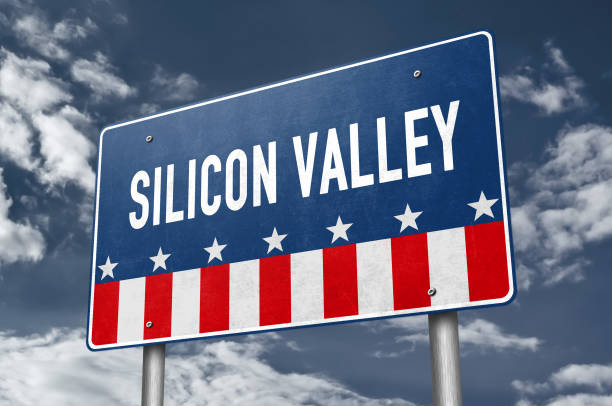 Sillicon Valley - road sign information stock photo