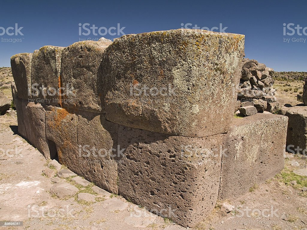 Sillustani Funeral Towers, Andes, Peru royalty-free stock photo