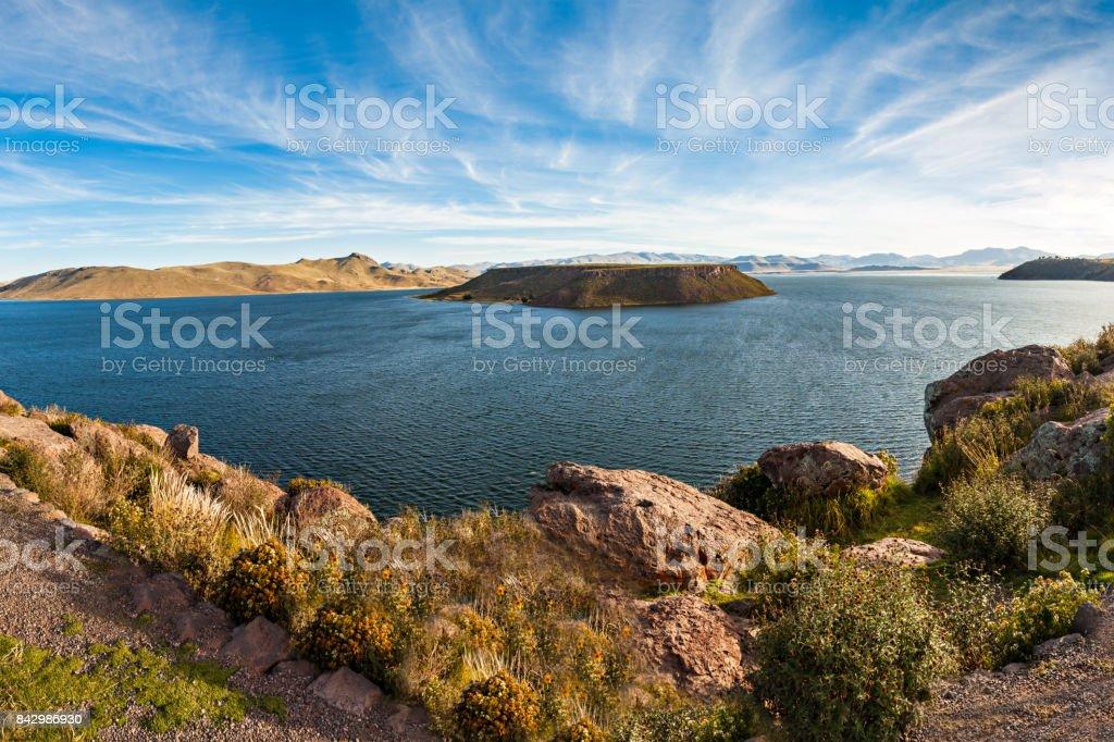 Sillustani, Umayo lake stock photo