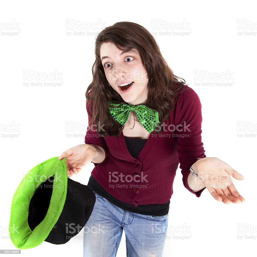 Silly Girl in St. Paddy's custom royalty-free stock photo