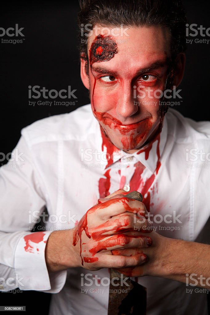 Silly looking psychopath stock photo