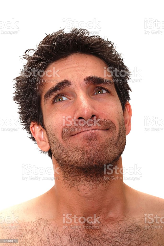 Silly man thinking royalty-free stock photo