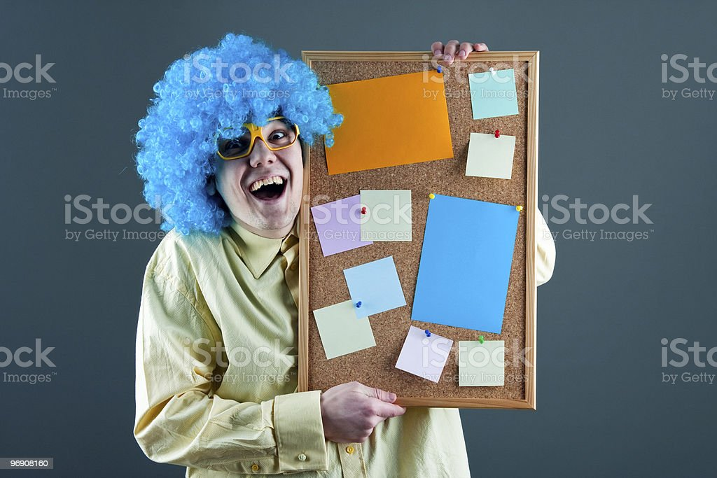 silly man  with corkboard royalty-free stock photo