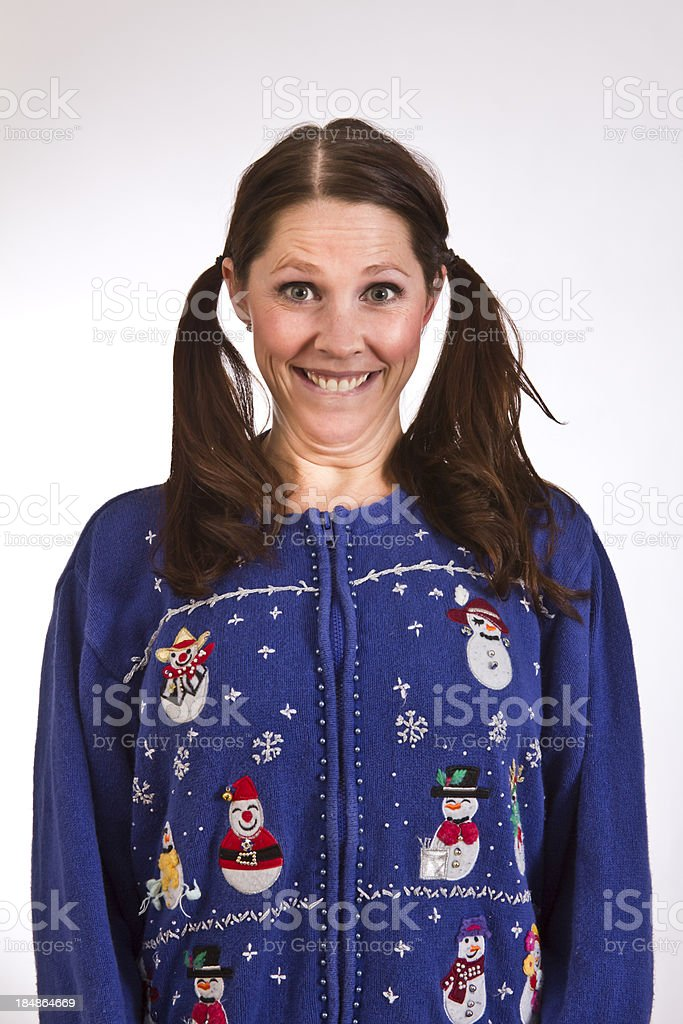Silly sweater lady stock photo