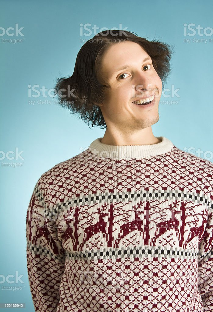 Silly sweater nerd stock photo