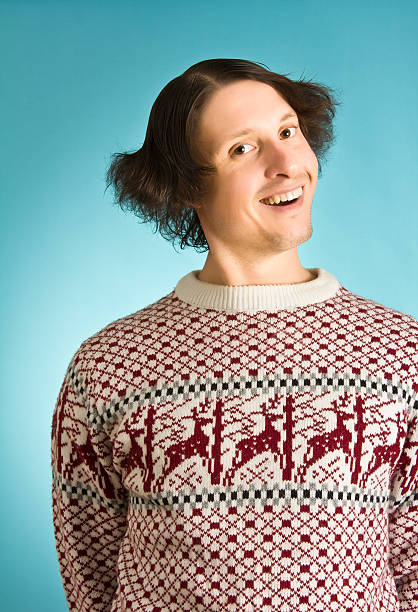 silly sweater nerd - ugly sweater stock photos and pictures
