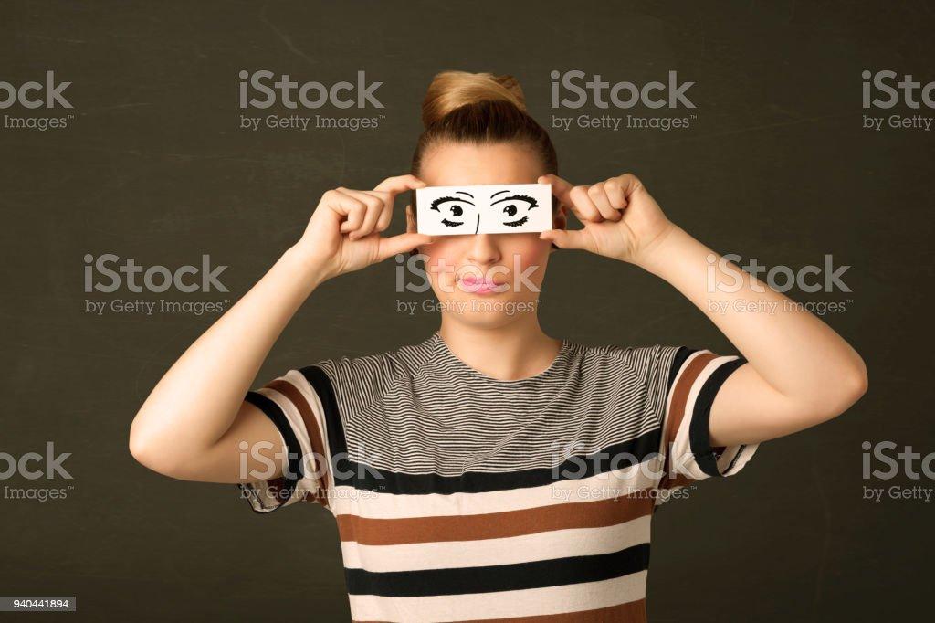 Dumme Junge Mit Hand Gezeichnet Auge Papier Stockfoto Und Mehr