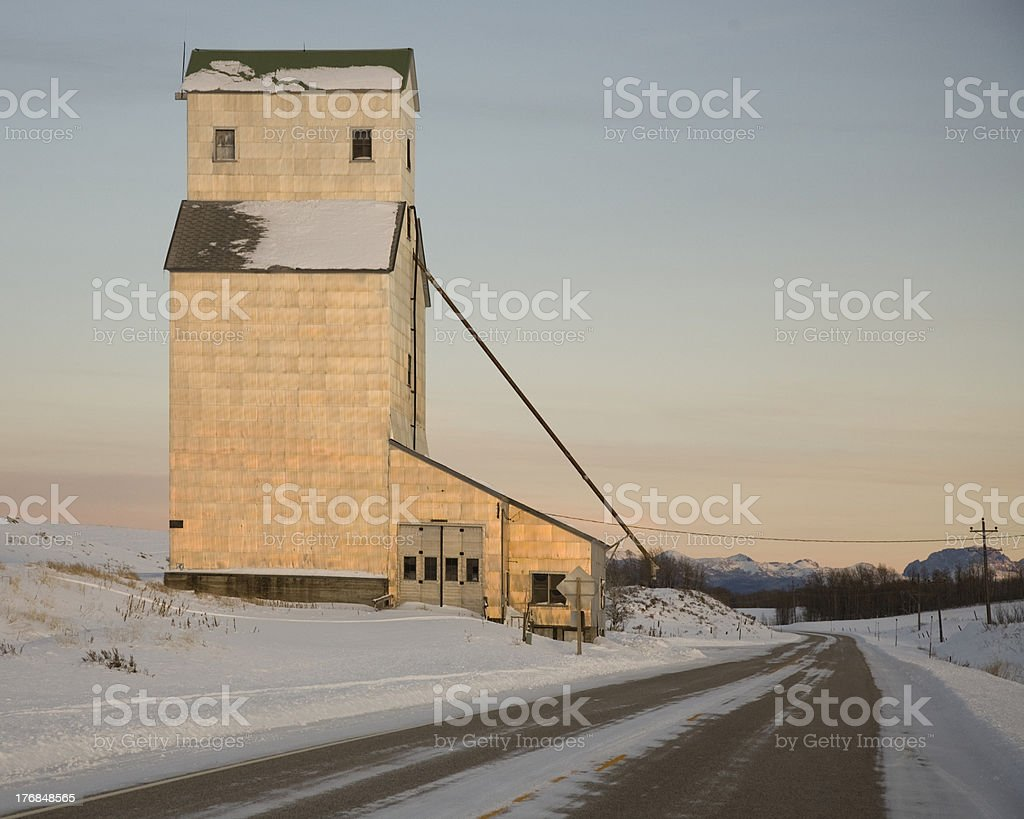 Silo building on a country road. stock photo