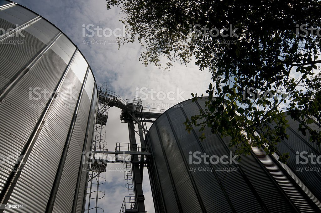 Silo steel storage tanks for grain stock photo