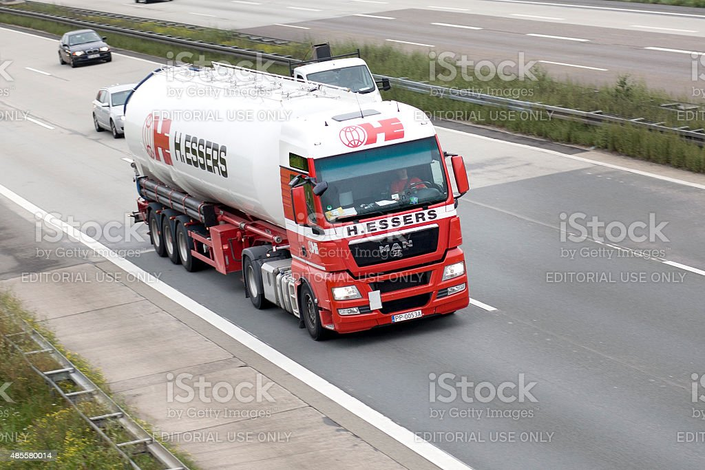 Silo truck on german Autobahn stock photo