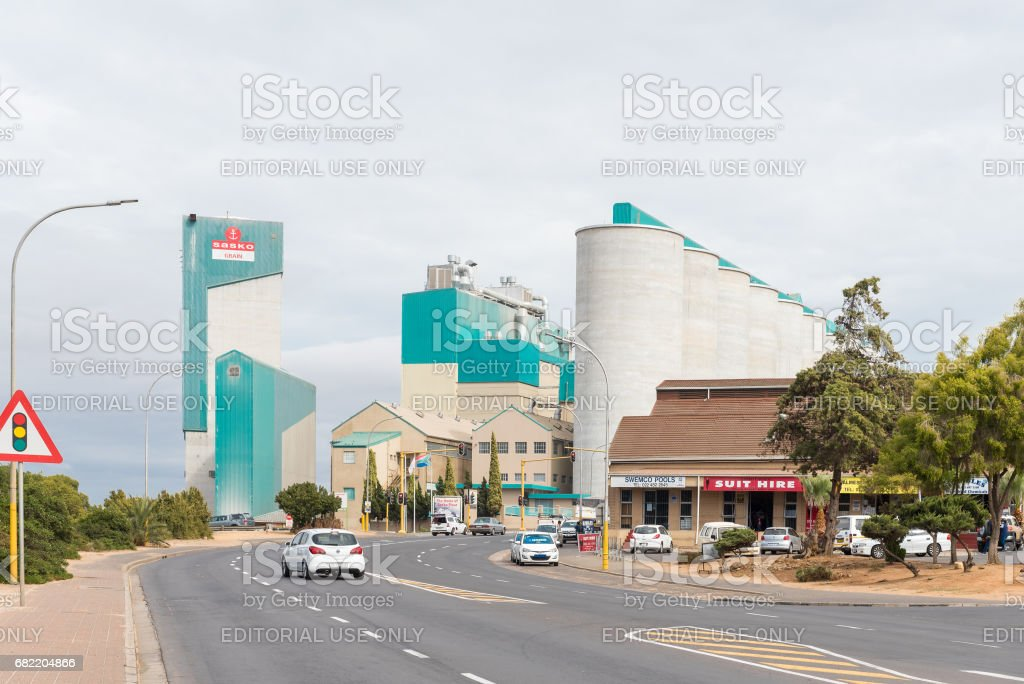 Silos and a mill in Malmesbury stock photo