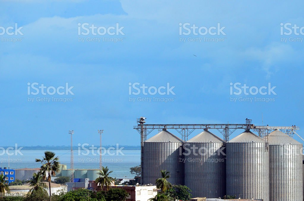 Silos and fuel tanks, Banjul port, Gambia stock photo