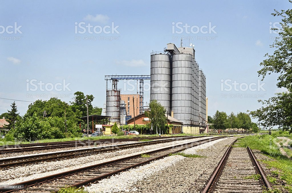 Silos and Rails stock photo