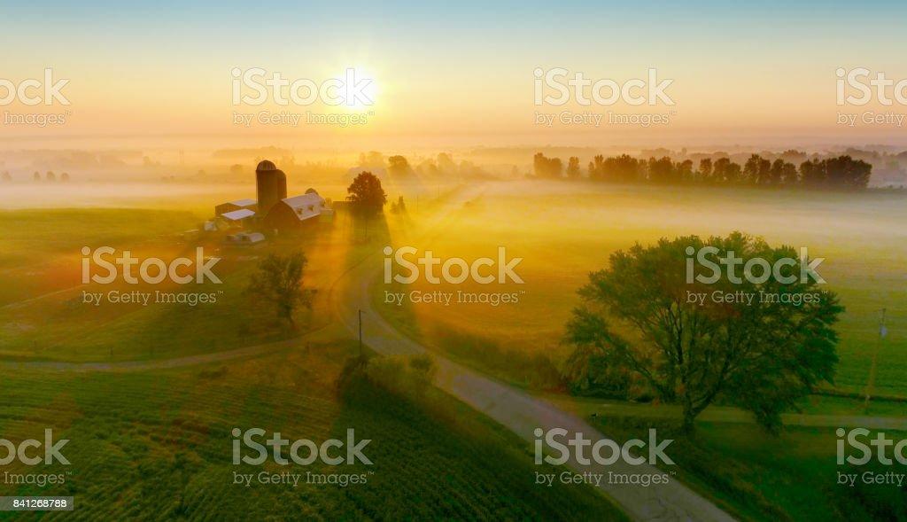 Silos und Bäume werfen lange Schatten im Nebel bei Sonnenaufgang. – Foto