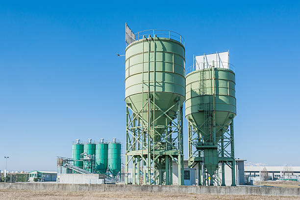 Silos for the production of beton,concrete stock photo