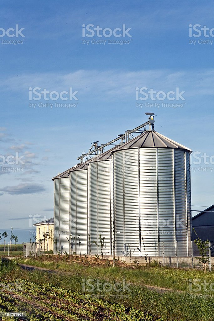 silos in beautiful landscape royalty-free stock photo