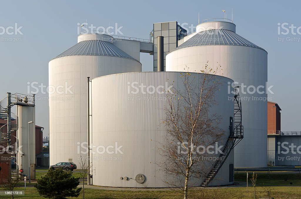 Silos of an industrial plant stock photo